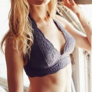 Anthropologie gray lace halter bralette M